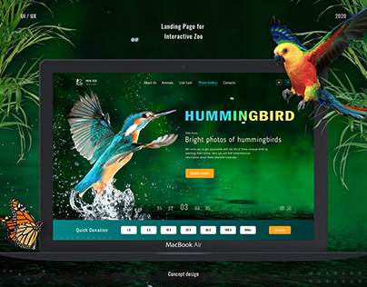 Landing Page for Interactive Zoo