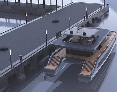 Luxury Solar Catamaran 3d Model for sale