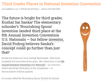 Third Grader Places in National Invention Convention