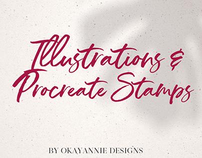 Illustrations & Procreate Stamp Mockups