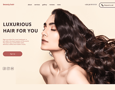 Landing page for hair salon. Beauty