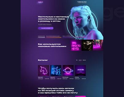 Concept landing design website for selling neon signs