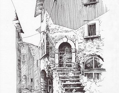 Navelli backstreet - dip pen sketch