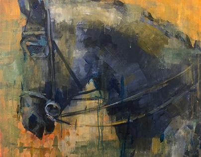 """Trojan Horse"", 24""x24"", acrylic in linen canvas"