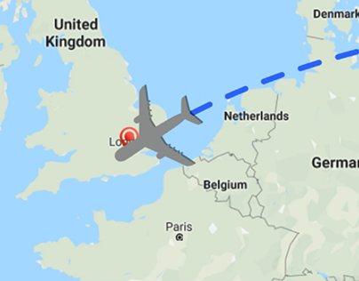 Map Flight Animation//Анимация полета самолета на карте