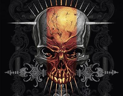 T-Shirt Design. Tattoo illustration Skull by Julia Art