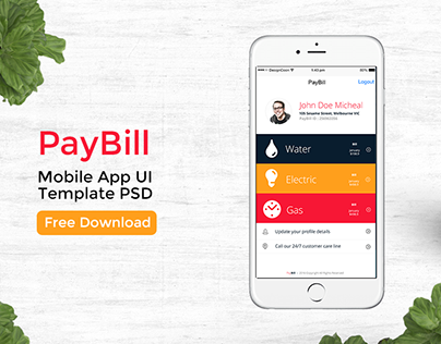 free psd bill pay mobile app ui design with 9 screens on behance