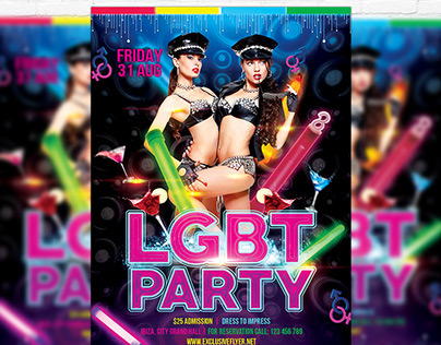 LGBT Party - Premium Flyer Template + Facebook Cover