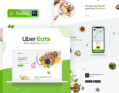 Uber Eats Website Redesign Concept FREE PSD