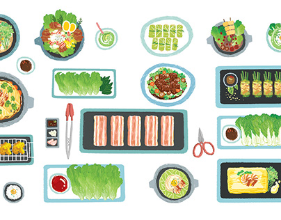 """Ehon illustration """"What food do you like to eat?"""""""