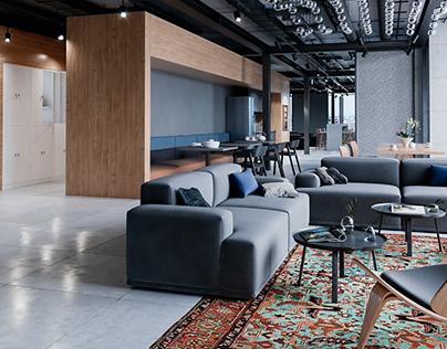 Loft Interior Office Rendering