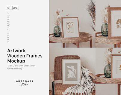 Artwork Wooden Frames Mockup