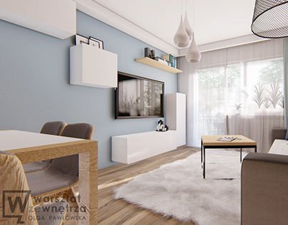 Living room with white carpet