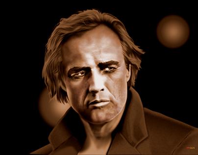 Marlon Brando vector portrait - no pixels, all vector