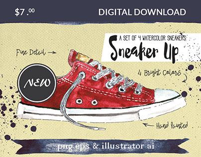 Set of 4 Watercolor Sneakers