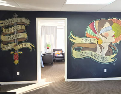 Tattoo Flash-Inspired Chalk Wall for Just Law Inc.