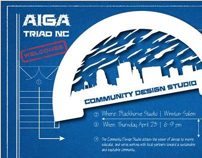 AIGA: Community Design Studio Social Event Graphic