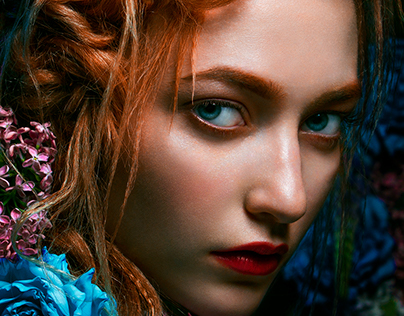 Beauty - Photograph Retouch - Redhead among roses