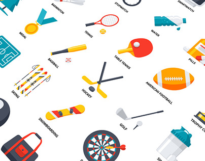 Fitness, Sport and Health Icon Set