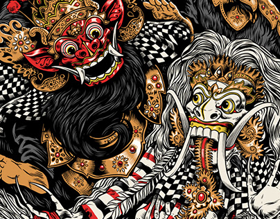 Barong vs Rangda T-shirt illustration
