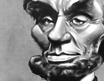 Digital Painting of Abraham Lincoln caricature