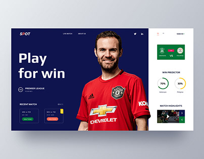 This is a Web UI exploration for a sports website.