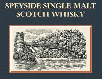 Speyside Whisky Label Illustrated by Steven Noble