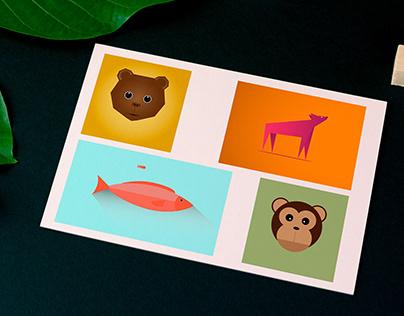 Animals Flat Design Family
