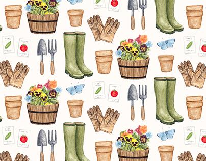 Illustrated Gardening Pattern Design