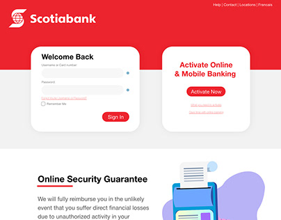 Scotiabank Online Banking Login Experience Redesign