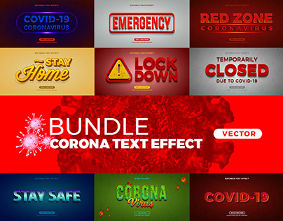 Bundle Corona editable text effect vector - FREE