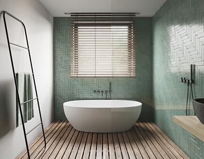 Green minimalistiс bathroom