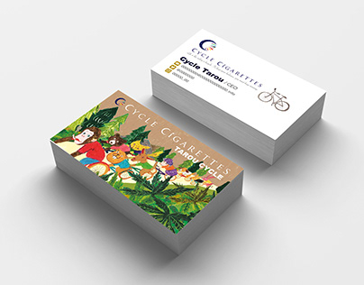 Animal cycling illustration business card