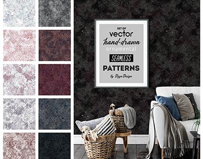 Set of vector hand-drawn ornamental seamless patterns.