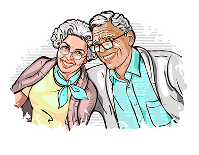 Vector illustration of a happy grey haired couple