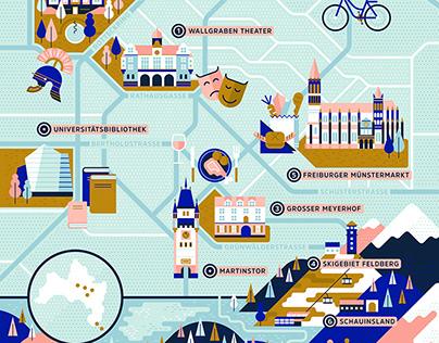 Agenda magazine, map illustration