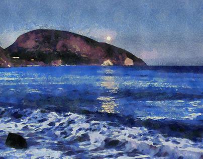 Crimea. Gurzuf. Moon over Bear Mountain.