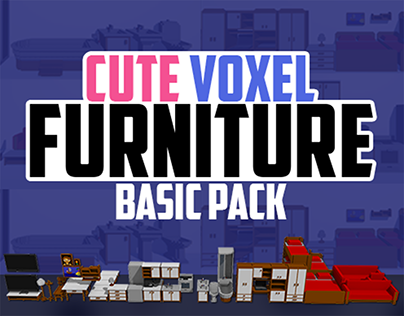 Cute Voxel Furniture - basic pack for Unity Asset Store