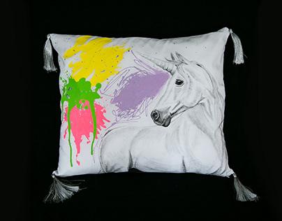 Painted pillow unicorn