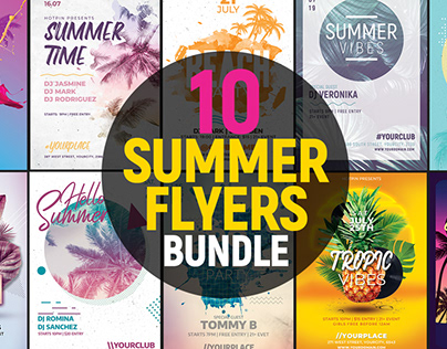 Summer Party Flyer Template Bundle