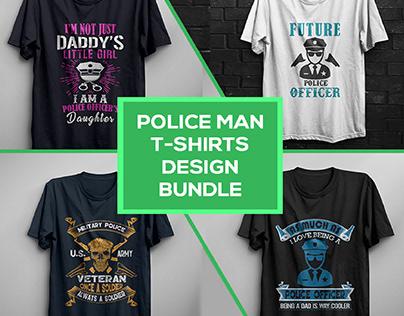 Police Man T-shirtsDesign Bundle .
