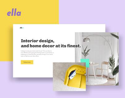 Interior design web and app UI concept.