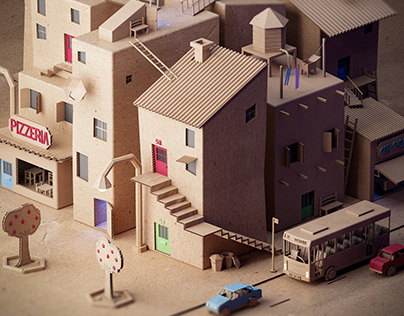 Cardboard neighborhood