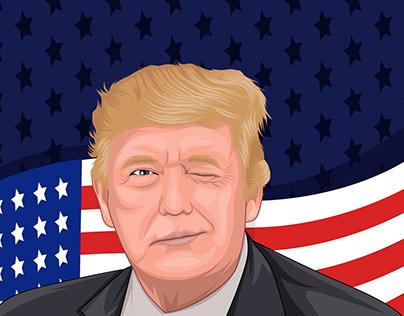 Cartoon/vector portrait of Donald Trump