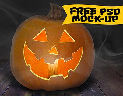 Free Jack-O'-Lantern PSD Mockup for Halloween