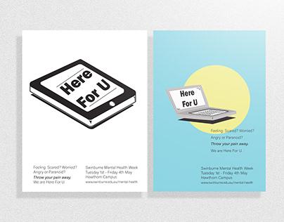 Here For U: Swinburne Mental Health Week poster