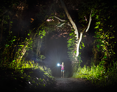 Tiny humans in dark landscapes