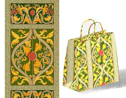 Decorative border design - grape branches