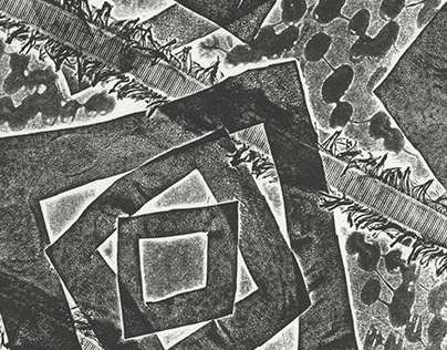 Fringe & Squares Collagraph