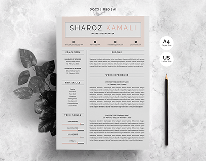 Minimalist Resume | 4 Pages Pack